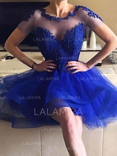 Corte A/Princesa Corto/Mini Tul Baile de promoción Escote redondo (016218381)