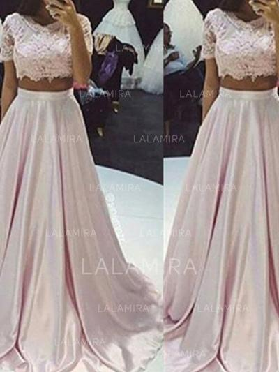 A-Line/Princess Scoop Neck Floor-Length Prom Dresses With Lace (018218123)