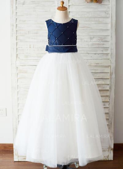 Corte A Longos Vestidos de Menina das Flores - Tafetá/Tule Sem magas Decote redondo com Cintos (010144182)