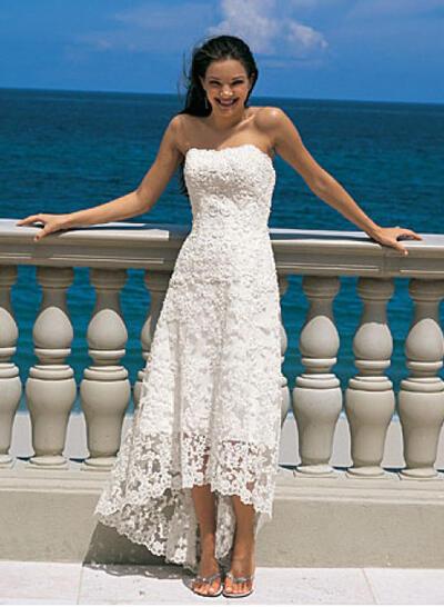 Corte A/Princesa Encaje Sin mangas Sin tirantes Asimétrico Vestidos de novia (002144598)