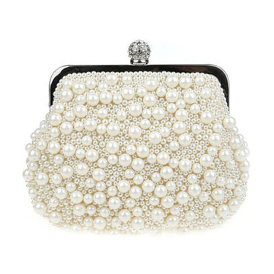Clutches/Wristlets/Totes/Bridal Purse/Fashion Handbags/Makeup Bags/Luxury Clutches Wedding/Ceremony & Party/Casual & Shopping/Office & Career Pearl Snap Closure Elegant Clutches & Evening Bags (012187894)