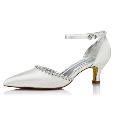 Women's Pumps Dyeable Shoes Low Heel Satin With Rhinestone Wedding Shoes (047206057)