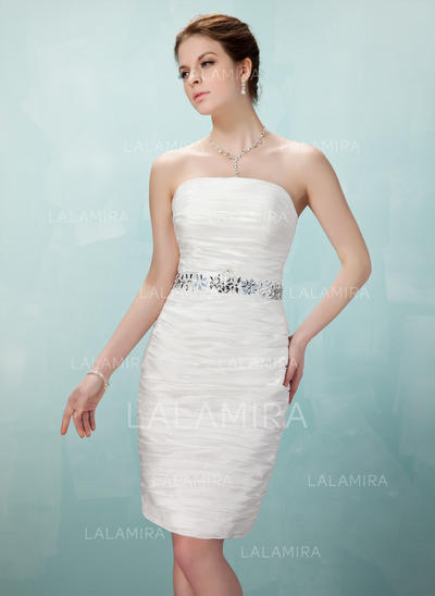 Sheath/Column Strapless Knee-Length Taffeta Cocktail Dresses With Ruffle Beading (016008250)