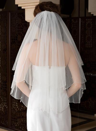Voile de mariée longueur coude Tulle 2 couches Style Classique avec Bord perlé Voiles de mariage (006036615)