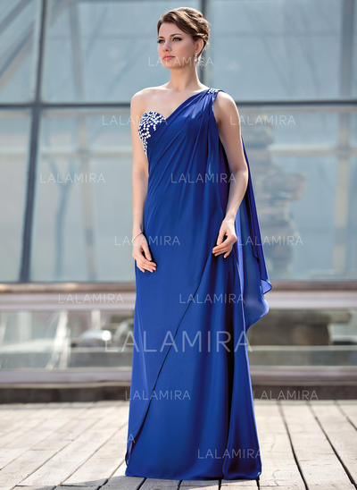 A-Line/Princess Chiffon Sleeveless One-Shoulder Floor-Length Zipper Up at Side Mother of the Bride Dresses (008213149)