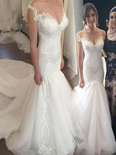 Appliques Off-The-Shoulder Trumpet/Mermaid - Tulle Wedding Dresses (002210863)