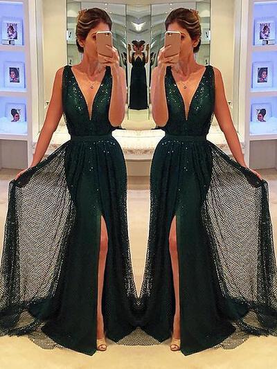 Stunning Tulle Evening Dresses A-Line/Princess Sweep Train V-neck Sleeveless (017217005)