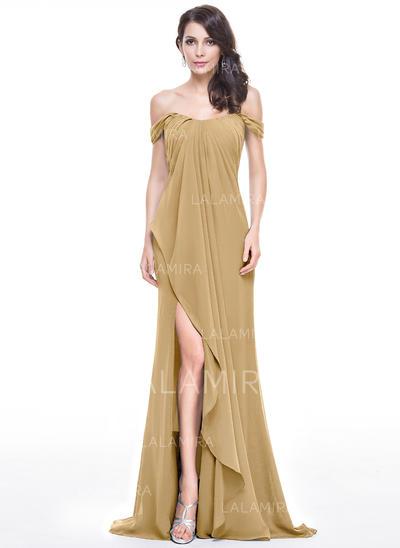 Tecido de seda Sem magas Sweep/Brush trem - Vestidos princesa/ Formato A Vestidos de baile (018112818)