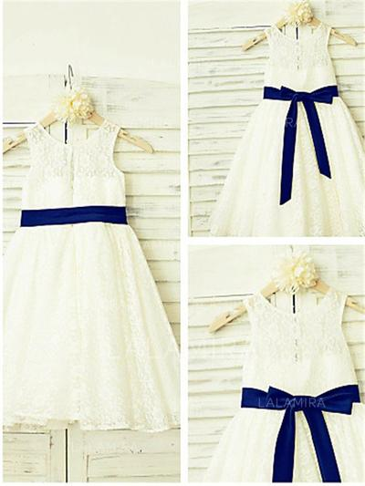 A-Line/Princess Scoop Neck Tea-length With Bow(s) Lace Flower Girl Dresses (010211988)