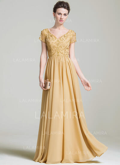 A-Line/Princess V-neck Floor-Length Chiffon Mother of the Bride Dress With Beading Appliques Lace Sequins (008074205)