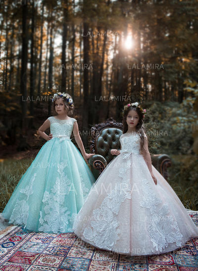 Ball Gown Scoop Neck Sweep Train With Beading/Bow(s) Satin/Tulle ...