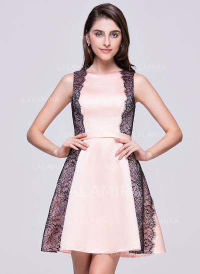 A-Line/Princess Scoop Neck Short/Mini Satin Homecoming Dresses With Lace (022214052)