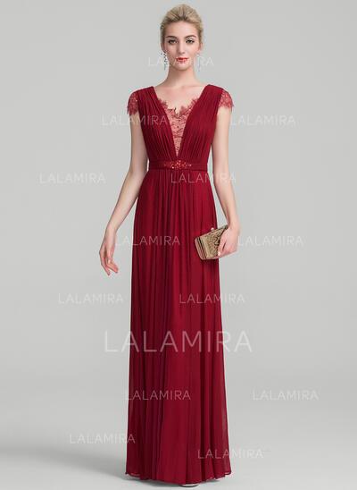 A-Line/Princess V-neck Floor-Length Jersey Evening Dress With Ruffle Beading Sequins (017130709)