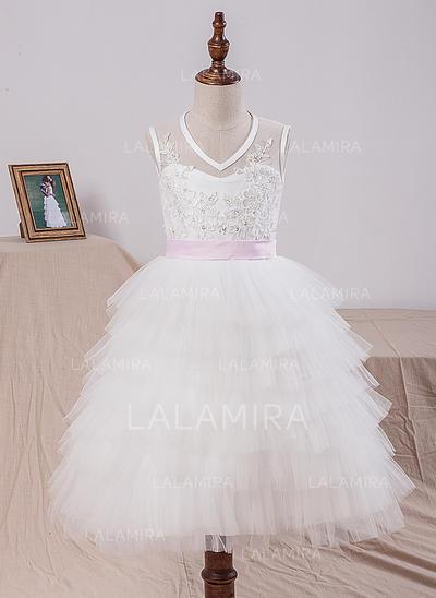 A-Line/Princess Tea-length Flower Girl Dress - Satin/Tulle/Lace Sleeveless V-neck With Sash/Bow(s) (010101897)