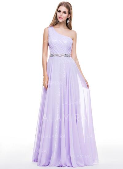 Gasa Con lentejuelas Tirantes comunes Un hombro Corte A/Princesa Vestidos de baile de promoción (018056798)