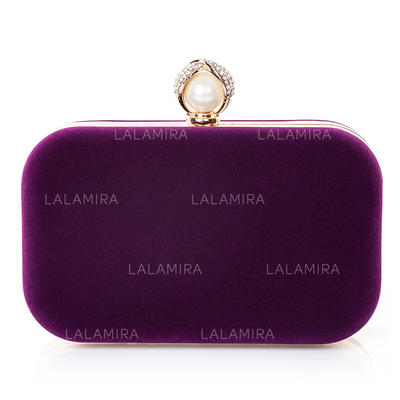 Clutches Wedding/Ceremony & Party Velvet/Imitation Pearl Clip Closure Attractive Clutches & Evening Bags (012185590)