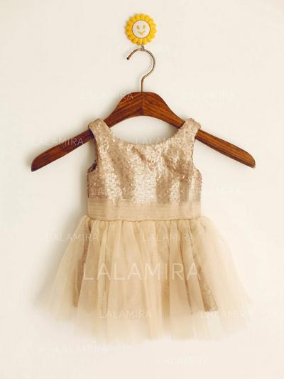 Scoop Neck A-Line/Princess Flower Girl Dresses Tulle/Sequined Pleated Sleeveless Short/Mini (010212031)