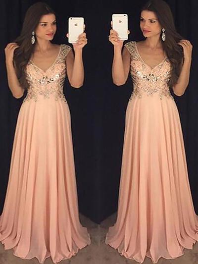 lantejoulas Vestidos princesa/ Formato A Decote V Tecido de seda - Vestidos de festa (017217143)