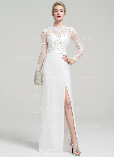 A-Line/Princess Scoop Neck Floor-Length Chiffon Evening Dress With Beading Sequins (017093461)