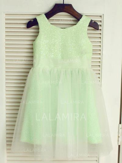 Scoop Neck A-Line/Princess Flower Girl Dresses Tulle/Sequined Pleated Sleeveless Knee-length (010212014)