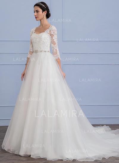 Cuentas Lentejuelas Corte A/Princesa - Organdí Encaje Vestidos de novia (002106070)