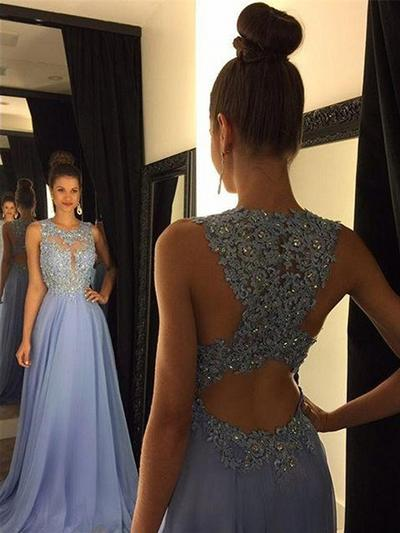 Glamorous Scoop Neck Sleeveless A-Line/Princess Chiffon Prom Dresses (018148487)