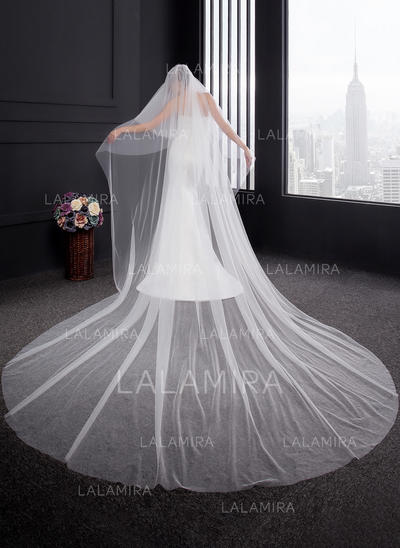 Cathedral Bridal Veils Two-tier Classic With Cut Edge 137.8 in (350cm) Wedding Veils (006152543)
