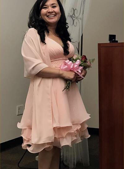 Vestidos princesa/ Formato A Decote V Tecido de seda Moderno Vestidos para a mãe da noiva (008212754)