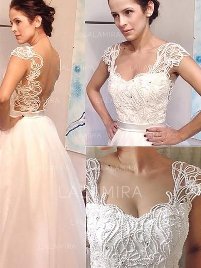 Beading A-Line/Princess With Tulle Wedding Dresses (002148021)