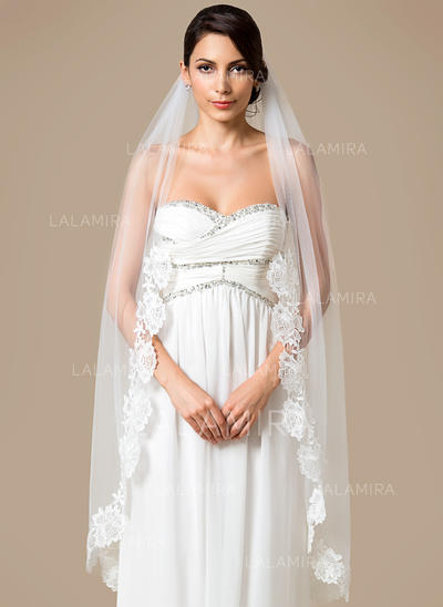 Waltz Bridal Veils Tulle One-tier Mantilla With Lace Applique Edge Wedding Veils (006151790)