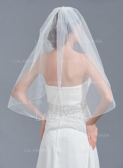 Elbow Bridal Veils Tulle One-tier Classic With Beading Wedding Veils (006152240)