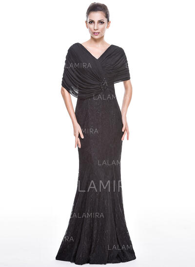 Trumpet/Mermaid V-neck Floor-Length Lace Evening Dress With Beading Sequins (017051657)