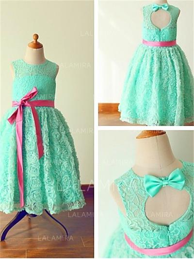 Scoop Neck A-Line/Princess Flower Girl Dresses Lace Sash/Bow(s) Sleeveless Ankle-length (010211912)
