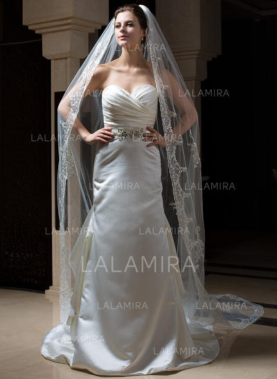 Cathedral Bridal Veils Tulle One-tier Oval/Drop Veil With Lace Applique Edge Wedding Veils (006151164)