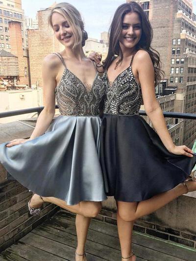 Beading A-Line/Princess Short/Mini Satin Homecoming Dresses (022216235)