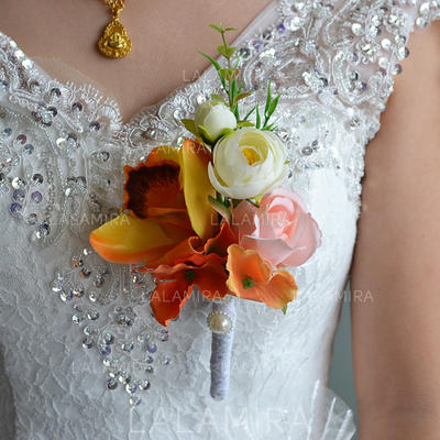 "Boutonniere Wedding Satin/Silk 3.94""(Approx.10cm) Wedding Flowers (123189441)"