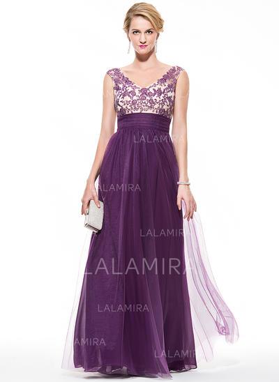 Tulle Sleeveless Floor-Length - Empire Prom Dresses (018075893)