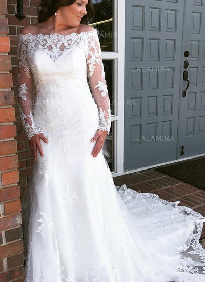 Long Sleeves Trumpet/Mermaid - Tulle Lace Wedding Dresses (002144917)