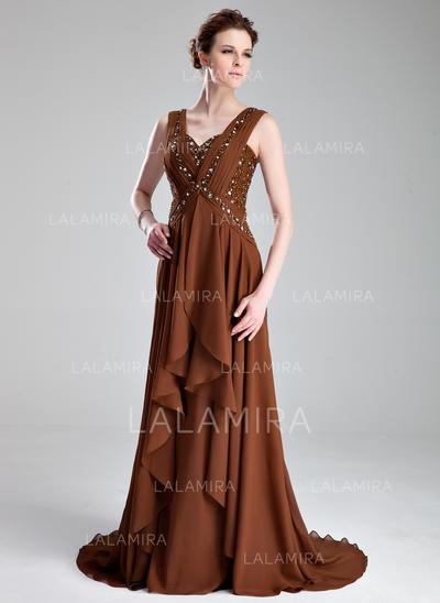 Corte A/Princesa Gasa Sin mangas Novio Cola corte Cremallera Vestidos de madrina (008213159)