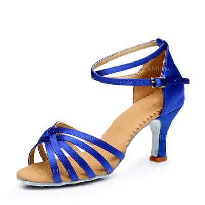 De mujer Danza latina Tacones Sandalias Satén con Hebilla Agujereado Zapatos de danza (053111457)