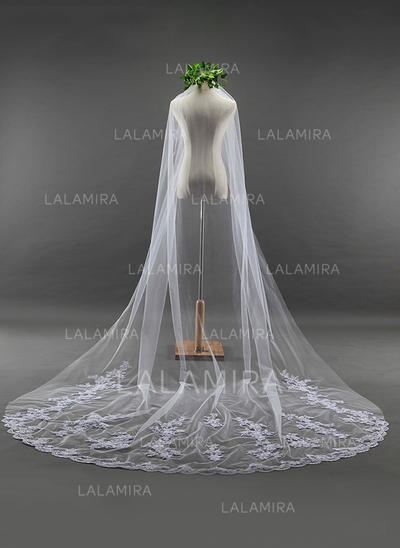 Cathedral Bridal Veils Tulle One-tier Oval With Lace Applique Edge Wedding Veils (006152170)