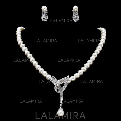 Jewelry Sets Alloy Pearl/Rhinestone Lobster Clasp Earclip Wedding & Party Jewelry (011160358)