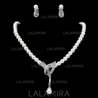 Sistemas de la joyería Aleación Perla/Rhinestone Corchete de la langosta Clip de oreja Joyas de boda & fiesta (011019402)