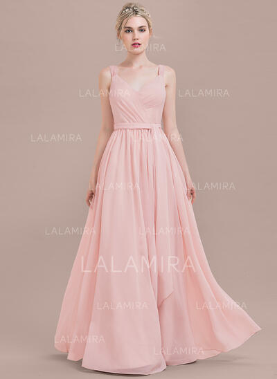 A-Line/Princess V-neck Floor-Length Chiffon Evening Dress With Ruffle (017124649)