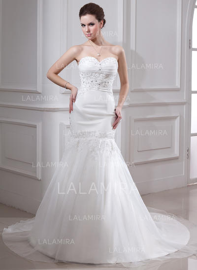 Satin Organza Sleeveless Trumpet/Mermaid With Luxurious Wedding Dresses (002000325)