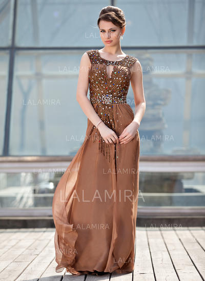A-Line/Princess Chiffon Sleeveless Scoop Neck Sweep Train Zipper Up Mother of the Bride Dresses (008213157)