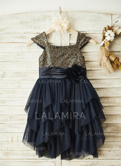 Gorgeous Square Neckline A-Line/Princess Flower Girl Dresses Knee-length Chiffon/Sequined Sleeveless (010210157)