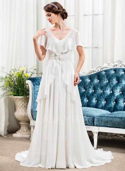Sleeves Short Sleeves Sweetheart With Chiffon Wedding Dresses (002210579)