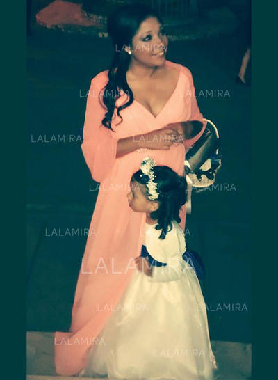 A-Line/Princess V-neck Chiffon Sexy Mother of the Bride Dresses (008212745)