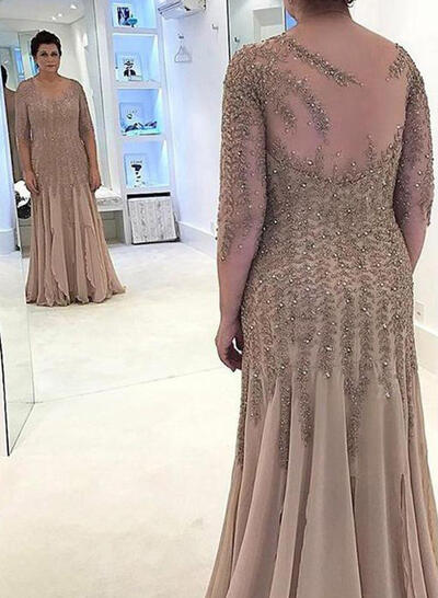 A-Line/Princess Scoop Neck Chiffon Fashion Mother of the Bride Dresses (008212736)